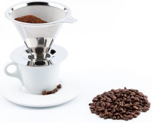 Maranello Caffé Pour Over Coffee Dripper Stainless Steel Reusable Drip Cone Coffee Filter