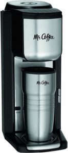Mr. Coffee Single Cup Coffee Maker with Travel Mug and Grinder