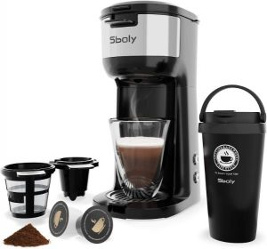 Sboly Single Serve Coffee Maker, with Thermal Mug