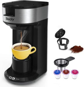 Updated Ground Coffee and Pod Coffee Maker Single Cup with Fast Brew Technology by Sboly