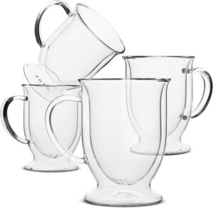 BTäT Double Wall Glass Coffee Mug Set of 4