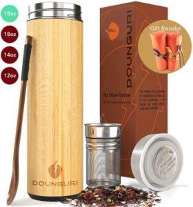 DOUNGURI Bamboo Tea Tumbler Mug with Strainer & Infuser