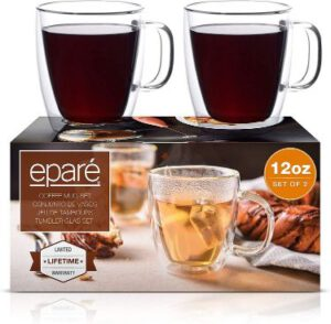 Eparé Coffee Mugs - Clear Glass Double Wall Cup Set