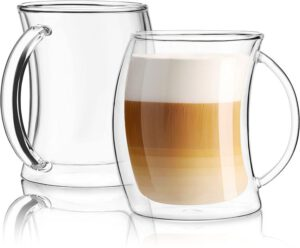 JoyJolt Caleo Collection Double Wall Insulated Glass Coffee Cups