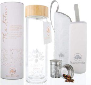 The Lotus Glass Tea Tumbler Travel Mug & Stainless Steel Strainer Infuser Bottle