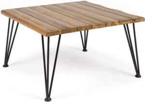 Christopher Knight Home Zion Outdoor Industrial Acacia Wood Coffee Table with Iron Frame