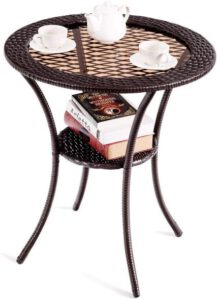 Giantex Round Rattan Wicker Coffee Table