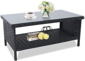 Rattaner Wicker Outdoor Coffee Table - Double Layer Table Furniture with Storage