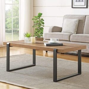 FOLUBAN Rustic Coffee Table - Wood and Metal Industrial Cocktail Table for Living Room
