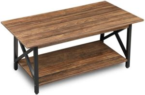 GreenForest Coffee Table Industrial Metal Legs with Storage Shelf for Living Room