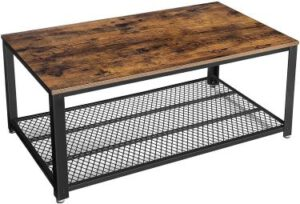 VASAGLE Industrial Coffee Table with Storage Shelf for Living Room