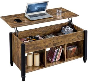 YAHEETECH Lift Top Rustic Style Coffee Table with Hidden Compartment & Shelf