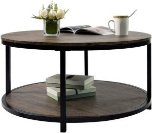 CharaHome Round Coffee Table Rustic Vintage
