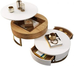 Homary Round Coffee Table with Storage Lift-Top