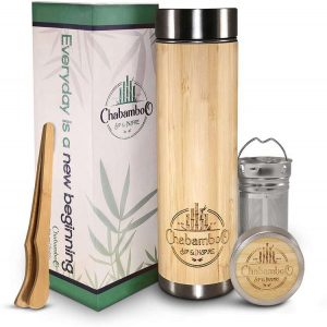 Bamboo Tumbler with Loose Leaf Infuser and Strainer