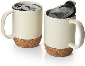 DOWAN Coffee Mugs Set of 2 with Splash Proof Lid and Handle