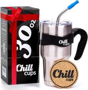 Chill Cups 30oz Insulated Stainless Steel Tumbler with Straw